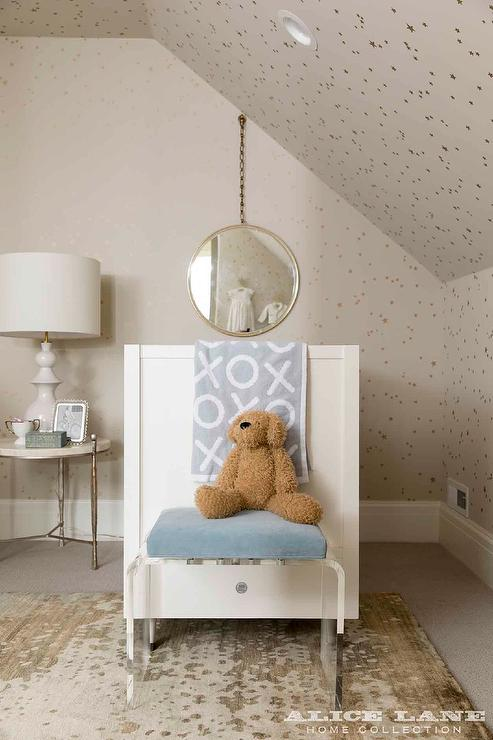 Blue And Gray Twins Nursery Design With Side By Side Cribs