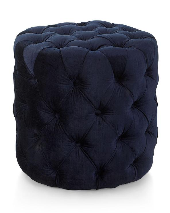 Fantastic Grace Round Navy Velvet Button Tufted Ottoman Caraccident5 Cool Chair Designs And Ideas Caraccident5Info