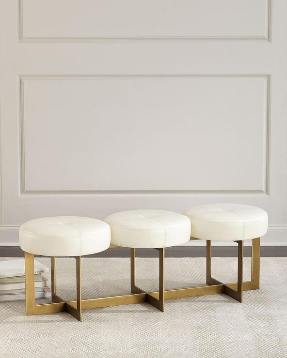 Stupendous John Richard Collection White Leather 3 Seat Brass Bench Cjindustries Chair Design For Home Cjindustriesco