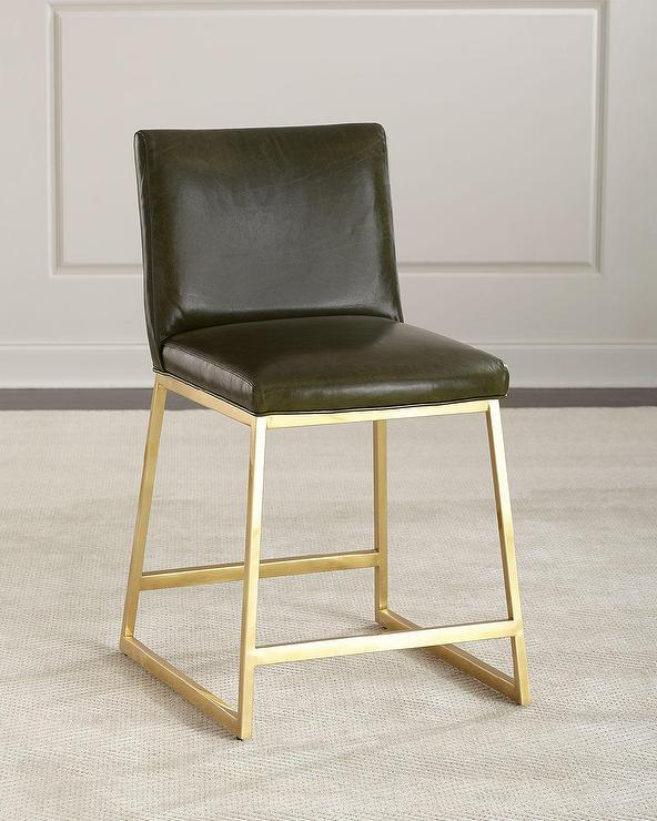 Brown Kirkham Tufted Leather X Base Stool