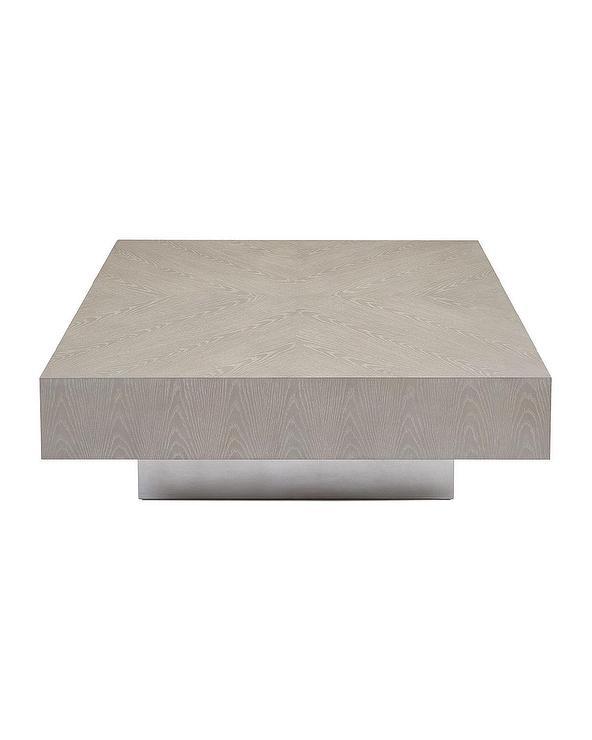 Loft Square White Oak Silver Base Coffee Table