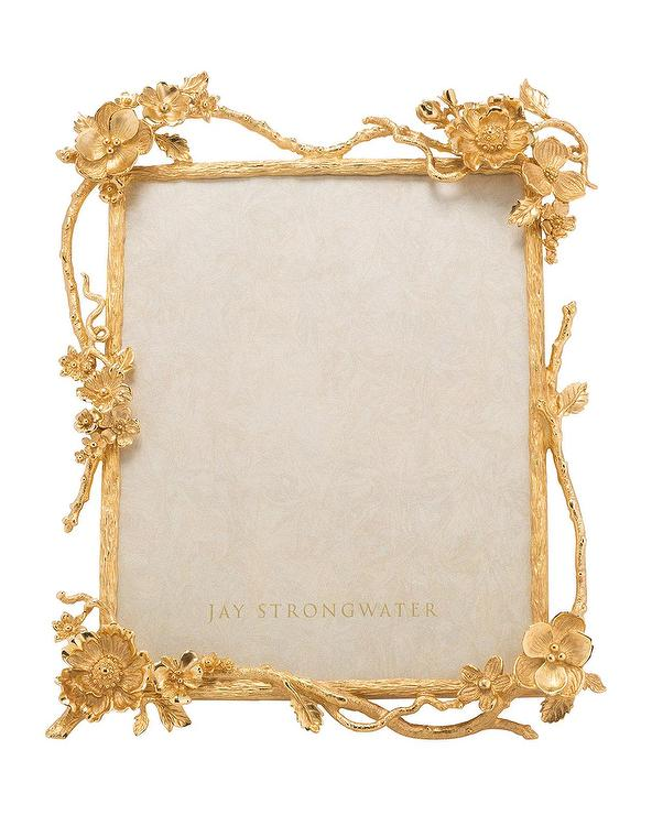 Jay Strongwater Gold Floral Branch Picture Frame
