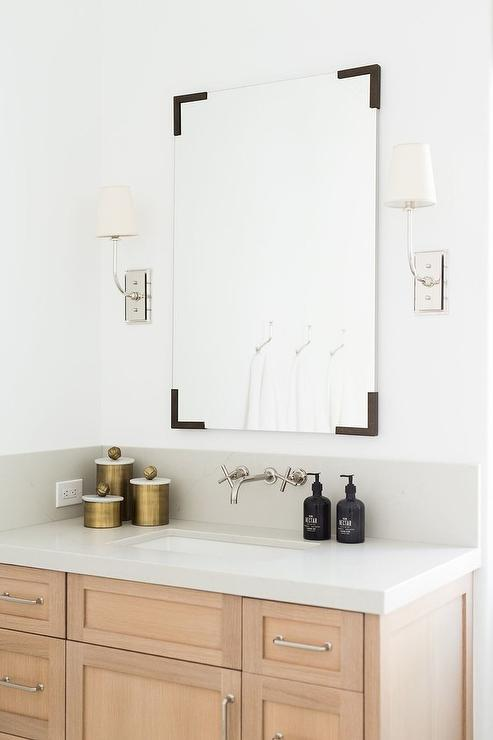 Mirror With Oil Rubbed Bronze Corners Transitional Bathroom