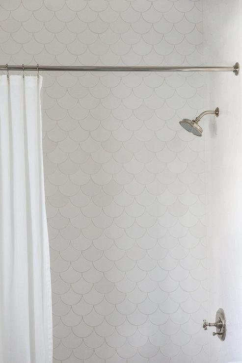 White Fish Scale Pattern Shower Wall Tiles Transitional Bathroom
