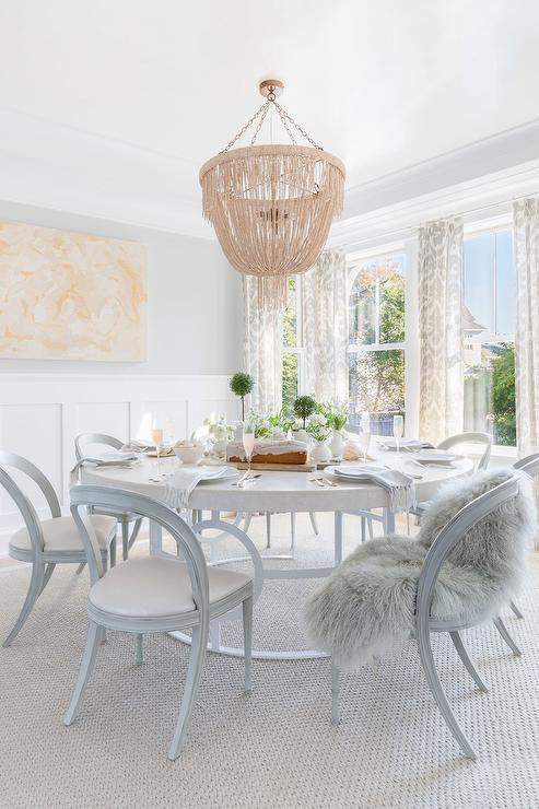 Alyssa Rosenheck Gray Chairs At Round White Dining Table Transitional Dining Room