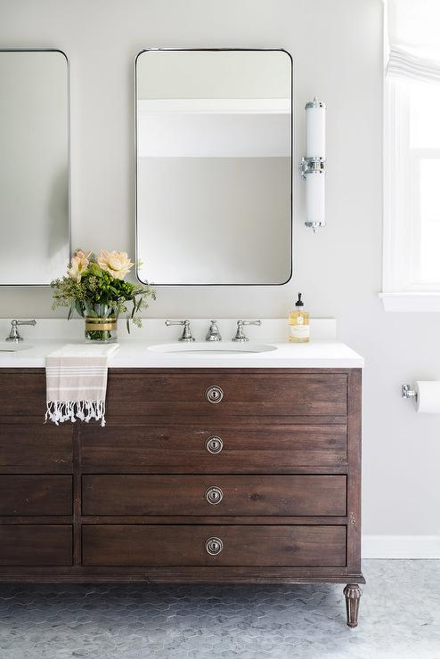 Restoration Hardware Dual Washstand With Drawers Transitional Bathroom