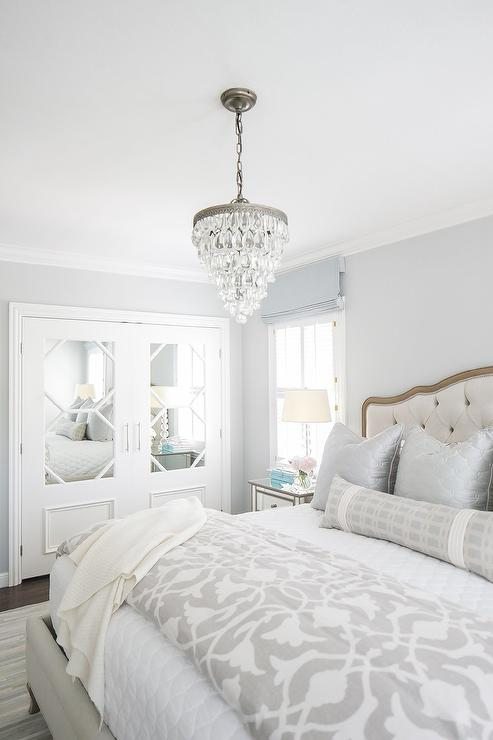Pale Blue Bedroom With French Tufted Bed Transitional Bedroom