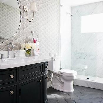 Black Porcelain Herringbone Bathroom Floor Tiles Design Ideas