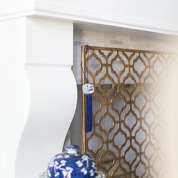brass arabesque fireplace screen
