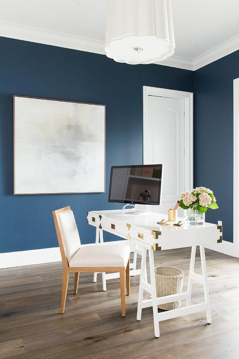 White Campaign Sawhorse Desk In Blue Office Transitional