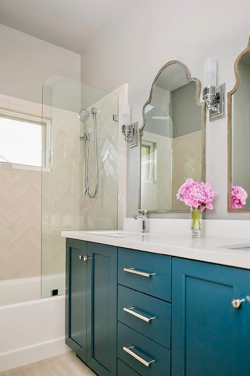 Peacock Blue Bathroom Furniture: Ivory Dual Bath Vanity With Satin Nickel Pulls