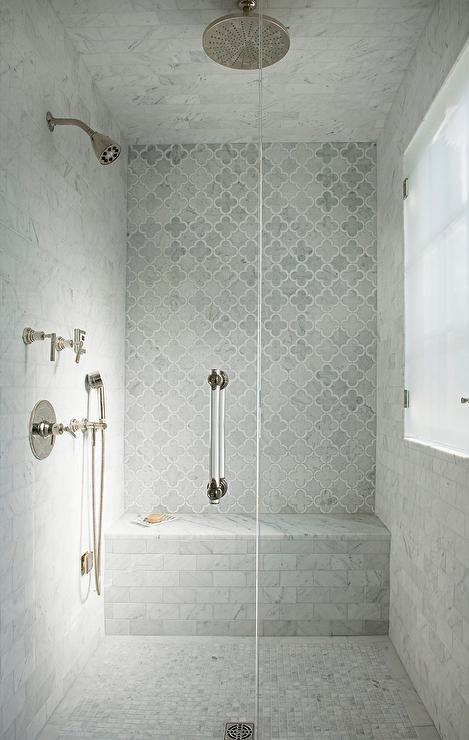 Gray Marble Arabesque Shower Tiles Transitional Bathroom