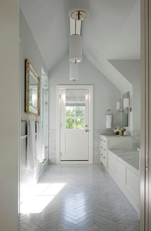 White And Gray Galley Style Bathroom Design Ideas - Galley style bathroom