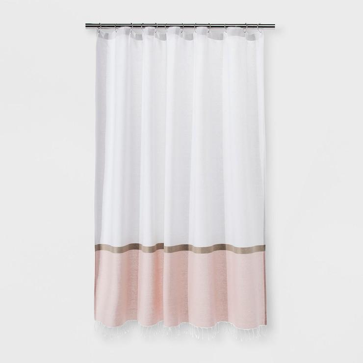 Project 62 Colorblock Light Gold Blush Shower Curtain