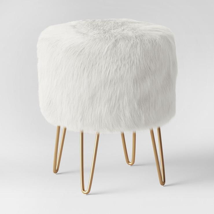 Brilliant Radovre Round White Faux Fur Brass Hairpin Ottoman Beatyapartments Chair Design Images Beatyapartmentscom