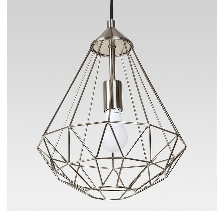 Entenza Brushed Nickel Faceted Geometric Cage Pendant