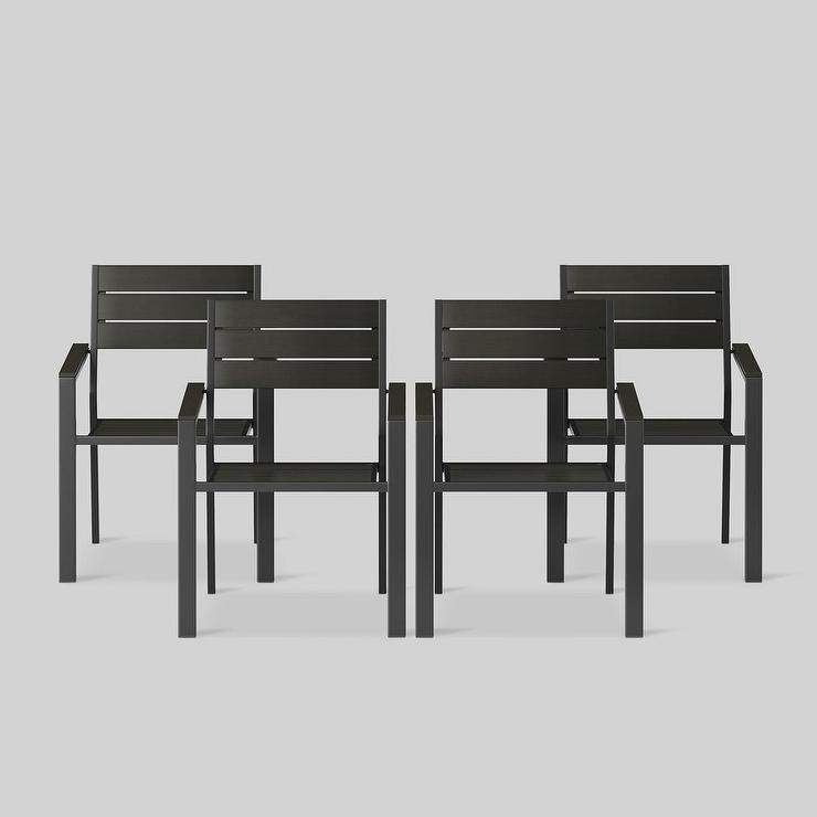 Bryant 4pk Black Outdoor Stacking Patio Dining Chair