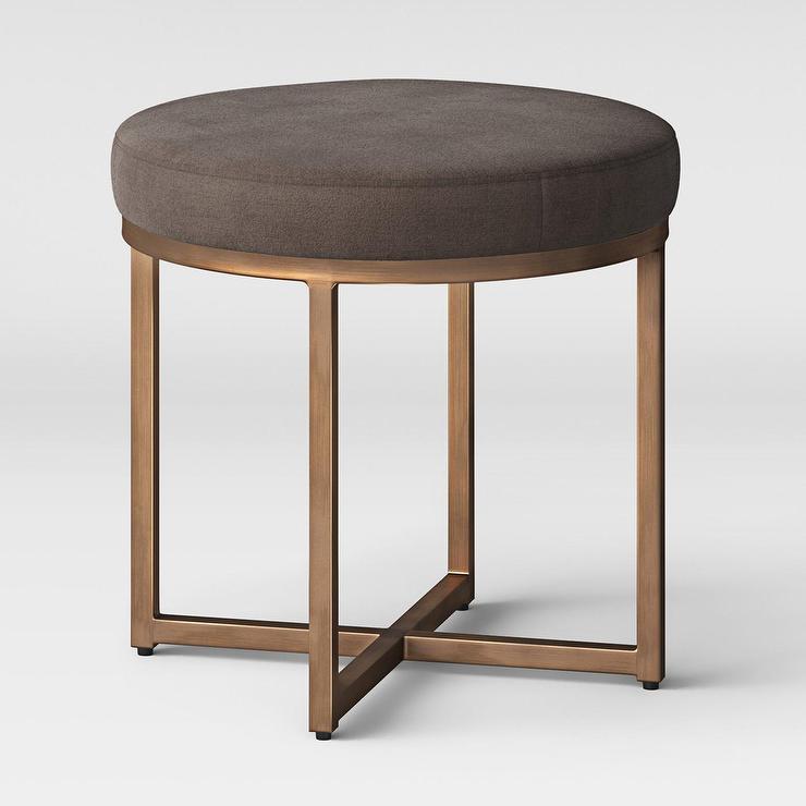 Sensational Project 62 Round Brown Bronze Metal Ottoman Inzonedesignstudio Interior Chair Design Inzonedesignstudiocom