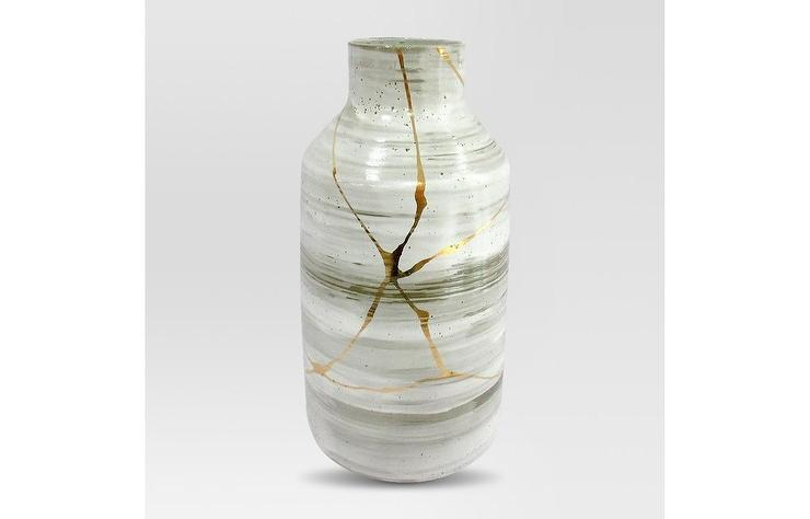 Project 62 Large White Gold Stoneware Vase
