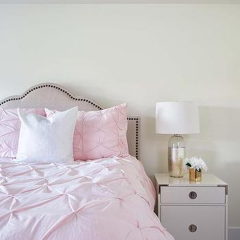 Pink Pin Tuck Duvet And Shams Under Tray Wallpapered Ceiling