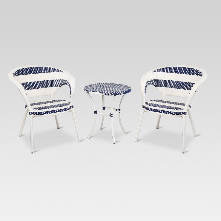 Cool Project 62 White Blue 3Pc Wicker Patio French Bistro Set Inzonedesignstudio Interior Chair Design Inzonedesignstudiocom