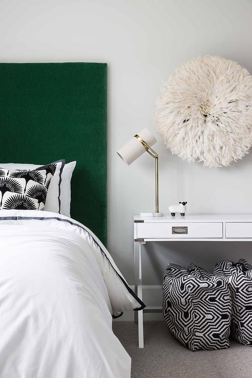 White And Green Bedroom Colors Transitional Bedroom