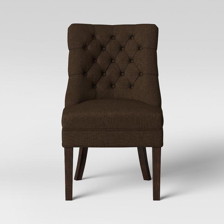 Beige Button Tufted Parsons Chair