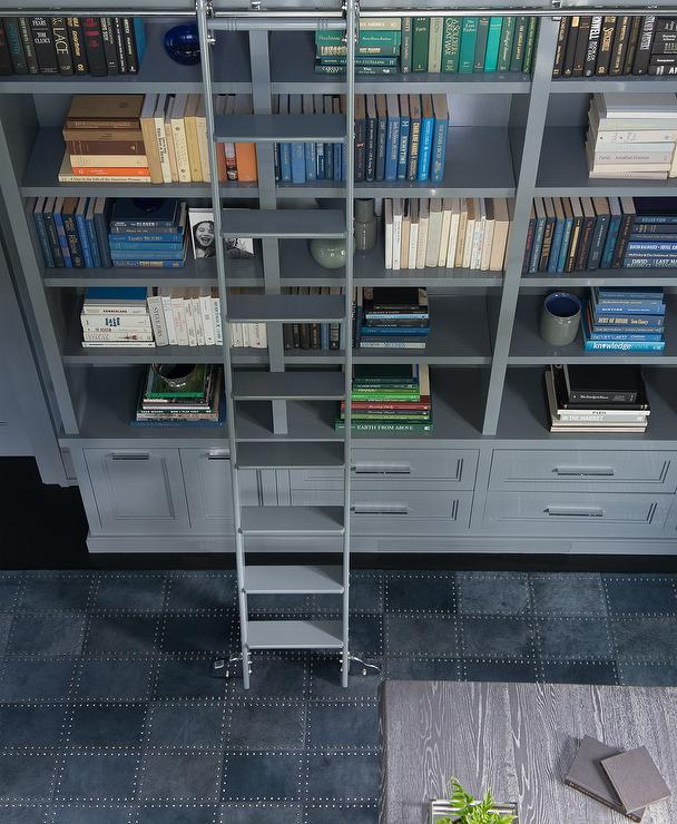 Gray And Blue Den With Ladder On Rails Contemporary Den Library Office