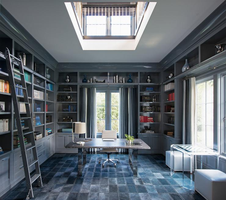Den Library Office: Gray Built In Bookcase