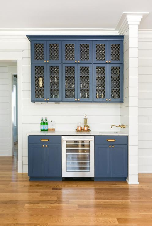 Blue Kitchen Backsplash With White Cabinets