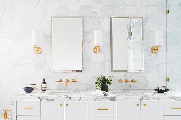Large White Marble Hexagon Bath Floor Tiles Transitional