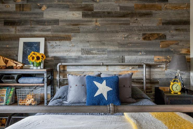 Cottage Boy Bedroom With Herringbone Plank Walls Cottage