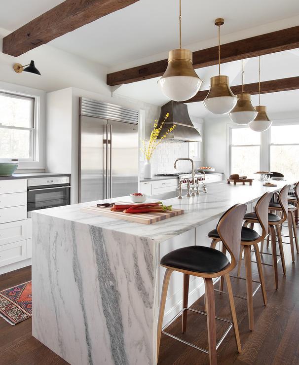 Merit Kitchen Cabinets: Gold Kitchen Island Foot Rails Marble Waterfall Kitchen