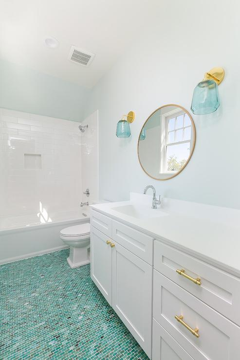 Fantastic Kids Bathroom With Green Glass Floor Tiles Transitional Download Free Architecture Designs Scobabritishbridgeorg