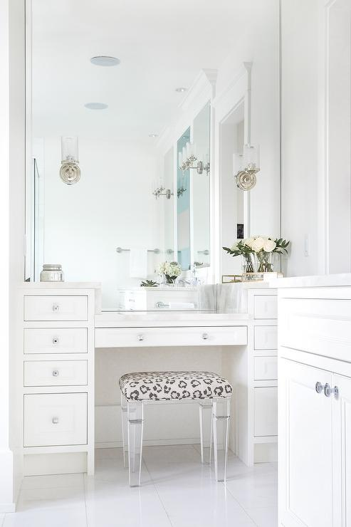Teenage Girls Bedroom With Lucite Vanity And Turquoise