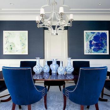 Blue Grasscloth Dining Room, Navy Grasscloth Wallpaper Dining Room