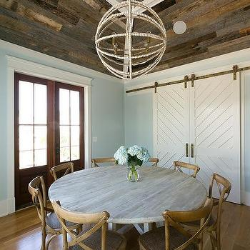Vaulted Dining Room Ceiling With Barn Wood Planks