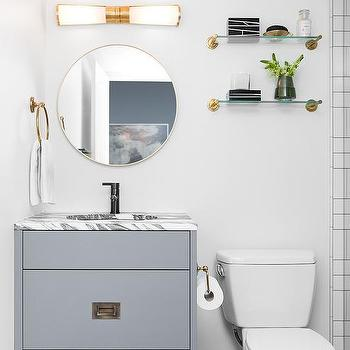 Vintage Brass And Glass Shelves Over Toilet Design Ideas