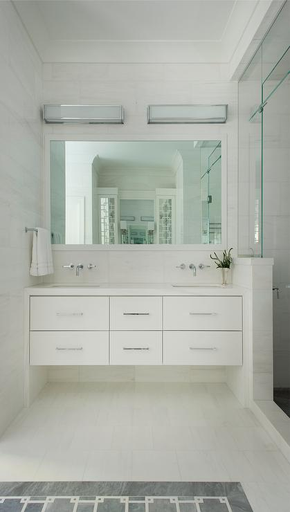 White Floating Sink Vanity With 6 Drawers Transitional Bathroom