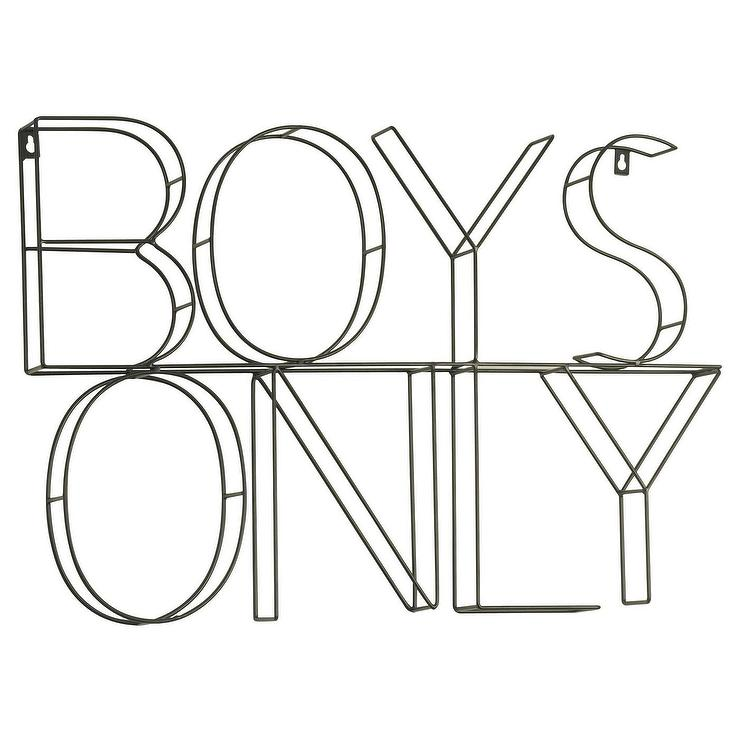 Pillowfort Black 3d Boys Only Wire Wall Decor