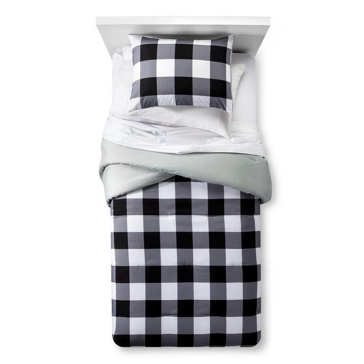 Pillowfort Black White Checkered Buffalo Comforter Set