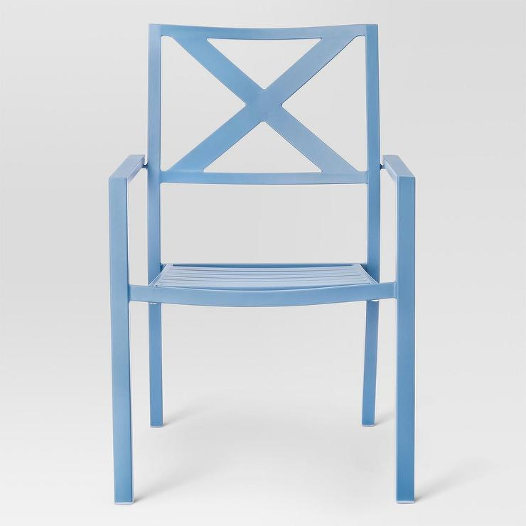 Threshold Afton X Back Blue Metal Patio Dining Chair