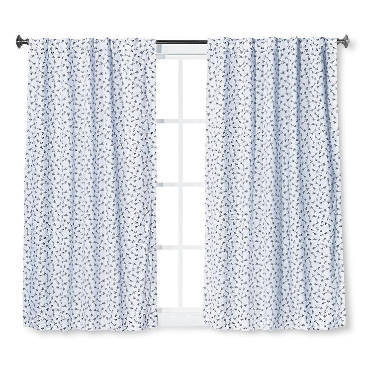 Pillowfort Blue Arrows Twill Blackout Curtain Panel