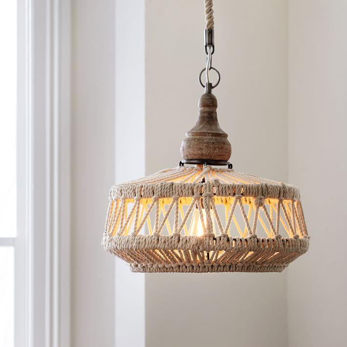 Rope wood boho pendant chandelier mozeypictures Images