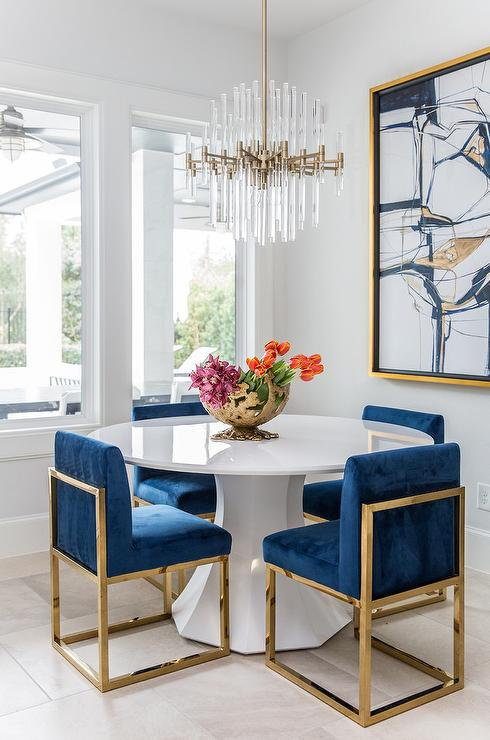 White Gold And Blue Dining Room Colors