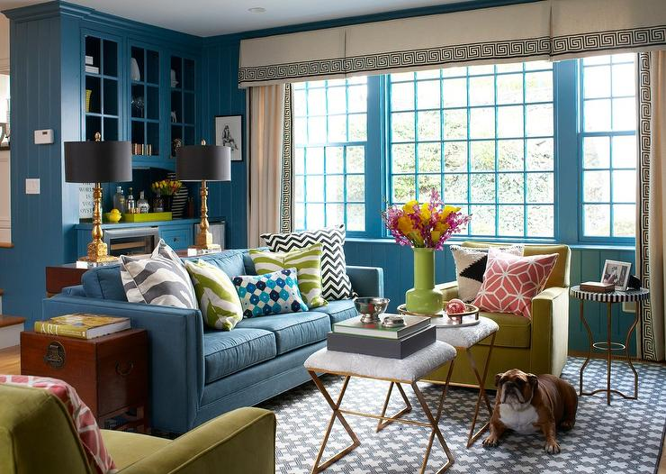 Blue Sofa Transitional Living Room Benjamin Moore