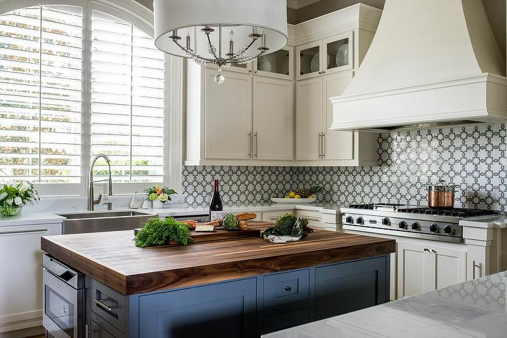Blue Wood Kitchen Island with Butcher Block Countertop ...