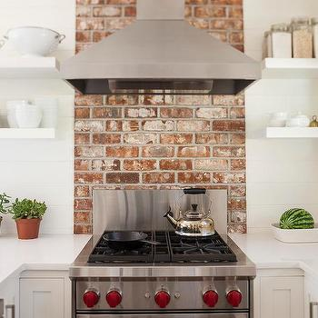Red Brick Cooktop Backsplash Design Ideas