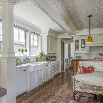 Shiplap Coffered Kitchen Ceiling Design Ideas