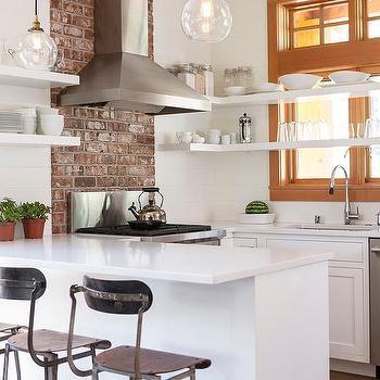 White Kitchen With Brick Accent Wall Design Ideas